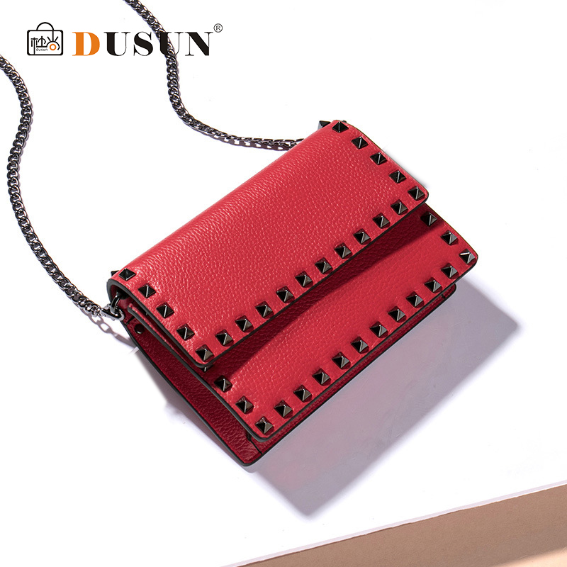 DUSUN Genione Leather Flap Shoulder&Crossbody Bag Chains girl Rivet Magnetic Buckle 2018 New Women's bag Three Colors Style Gift cupless buckle rivet leather corset