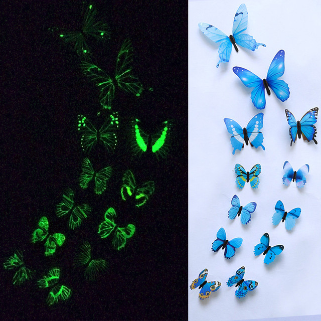 12pcs Butterfly Wall Sticker For Kids Room Art 3D Butterfly Decor Luminous Stickers Butterfly On The Wall Stickers muraux 189