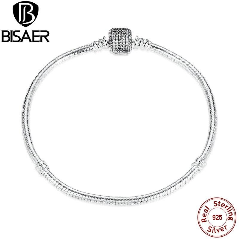 BISAER 100% 925 argent Sterling forme de coeur serpent fermoir de base bricolage Bracelets de chaîne femmes mode Bracelet bijoux WEUS907