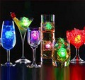 Free Shipping 12pcs/lot 2.8*2.6*2.6cm color changing LED ice cubes Glow Ice Cubes for wedding decoration novelty party