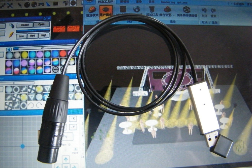 Usb To Dmx Interface Adapter Led Dmx512 Computer Pc Stage