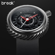 BREAK Luxury Men Unique Limited Sports Watches Rubber Strap Casual Fashion City Passion Waterproof Geek Creative Gift Wristwatch