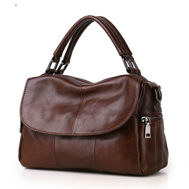 2018 New Women's Bag Single Shoulder Bag Cowhide Bag Simple Fashion Leather Lady Bag Hand Satchel new leather women bag white fashion satchel simple atmosphere retro handbag speedy bag