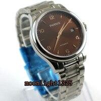 Parnis 38mm brown dial data vidro de safira 21 jewels MIYOTA Automáticos movimento do relógio dos homens|watch men|watch men watch|watch watch -
