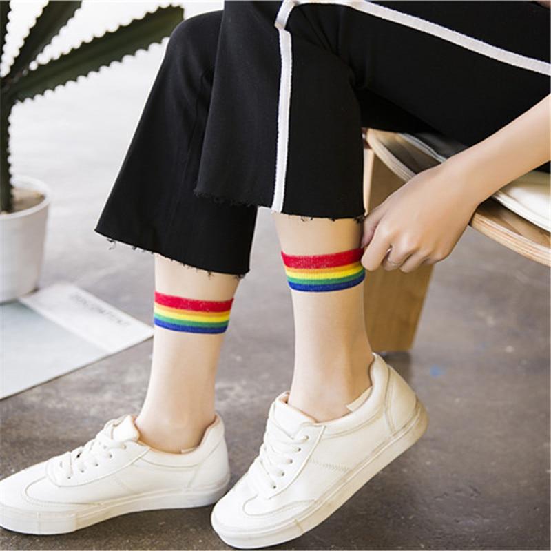 Fashion Summer Short Socks Women Colorful Rainbow Transparent Cute Socks Japan Harajuku Striped Female Socks For Girls