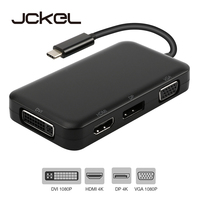 Jckel USB C HUB USB C 3.1 to HDMI DP Displayport VGA DVI Adapter USB C to HDMI VGA 1080P Video Converter for Macbook Dell Xps