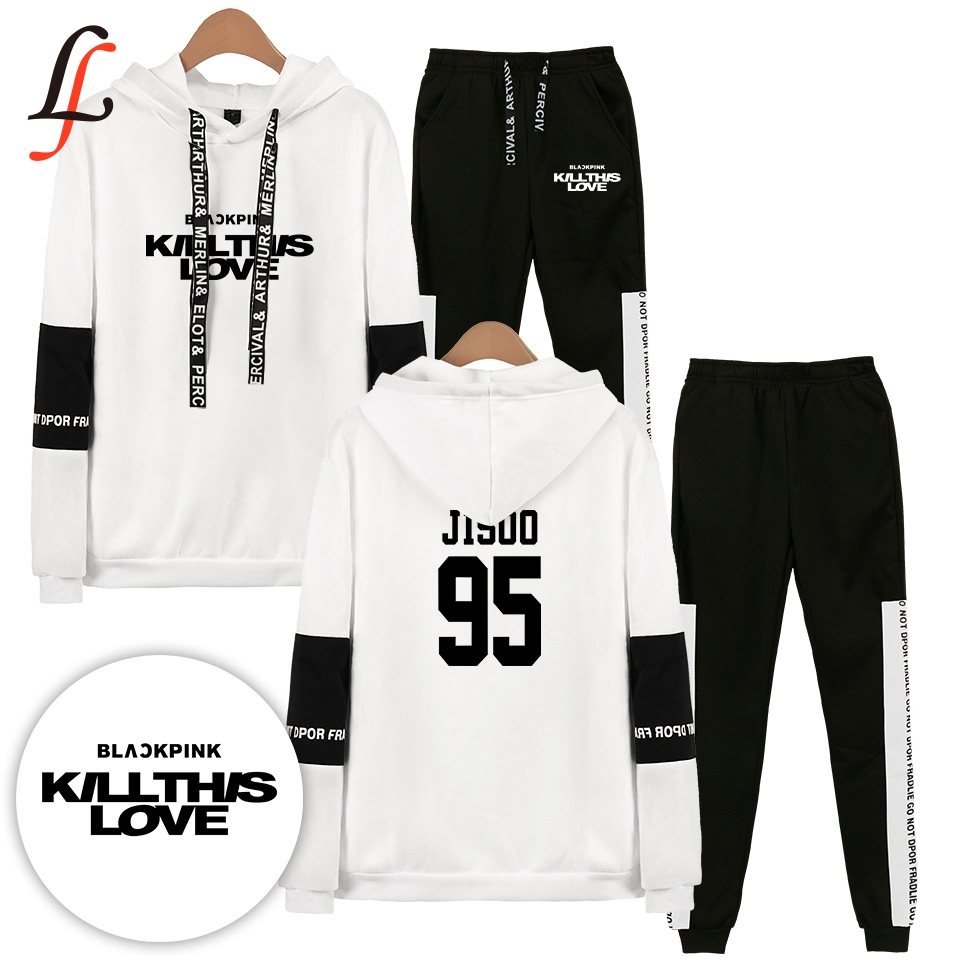 Blackpink Killthislove Tracksuit 2pcs Women Set Hoodies Crop Top Sweatshirt Side Stripe Pants Hooded Sets Women Men Suits