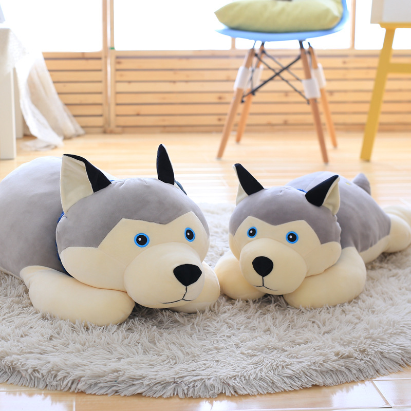 55CM Many toy manufacturers selling new us down cotton husky doll plush toys to customized drawings and samples 80cm large super cute plush toy dog bulldog husky shiba pug pillow down cotton filling as a gift to the children and friends