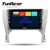 Funrover 8 ядер android 8,1 2din dvd мультимедийный плеер для toyota camry 2012 2014 Автомобильный Радио dvd gps навигация видео стерео DSP