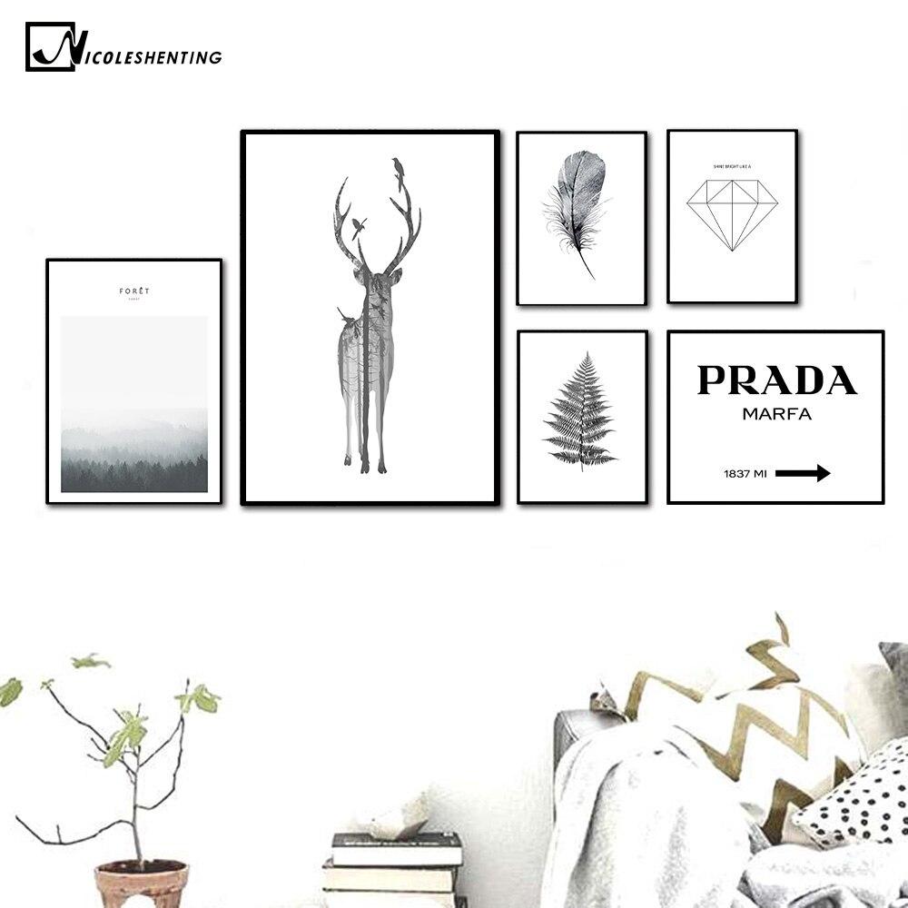 NICOLESHENTING Nordic Style Deer Feather Poster Print Minima