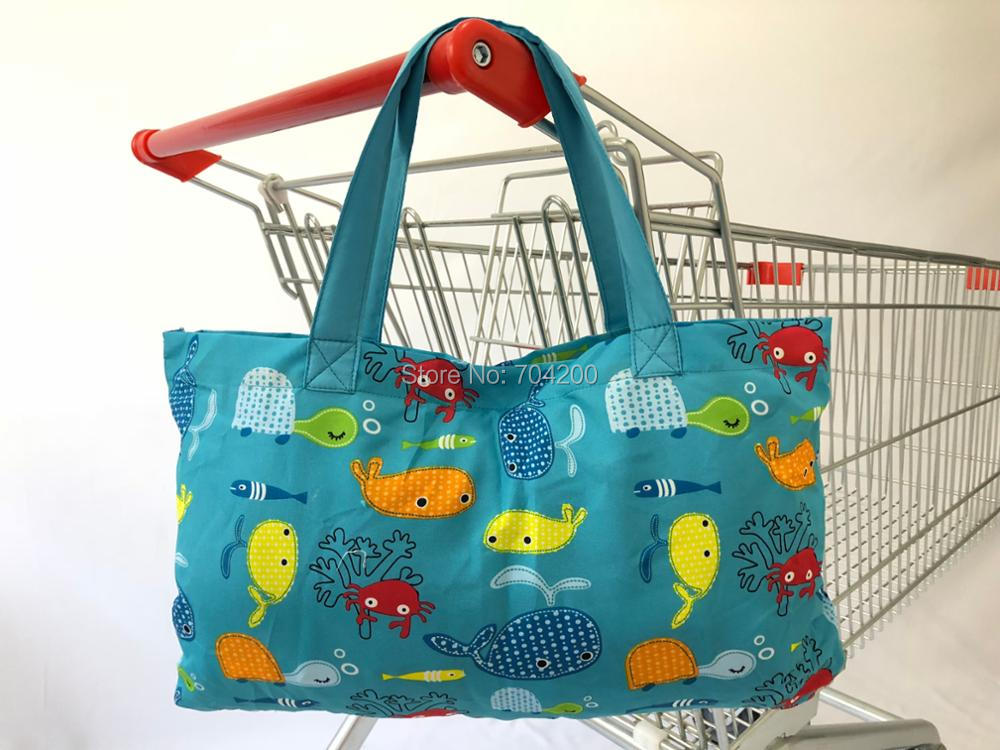 Многофункциональная Тележка для покупок 2 в 1, чехол на высокий стул для малышей и младенцев-Морская синяя рыба
