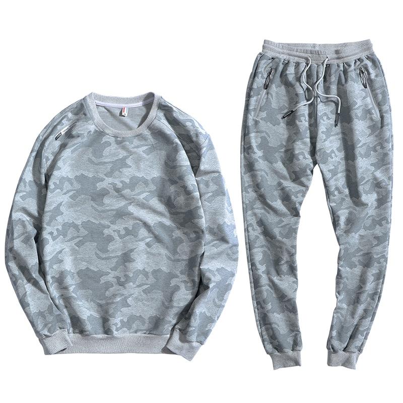 Camouflage Tracksuit Men Pullover Sweatsuit 2 Piece Men's Set Sportswear Sweatshirt Pants Track Suits Plus Size 7XL 8XL 9XL 10XL
