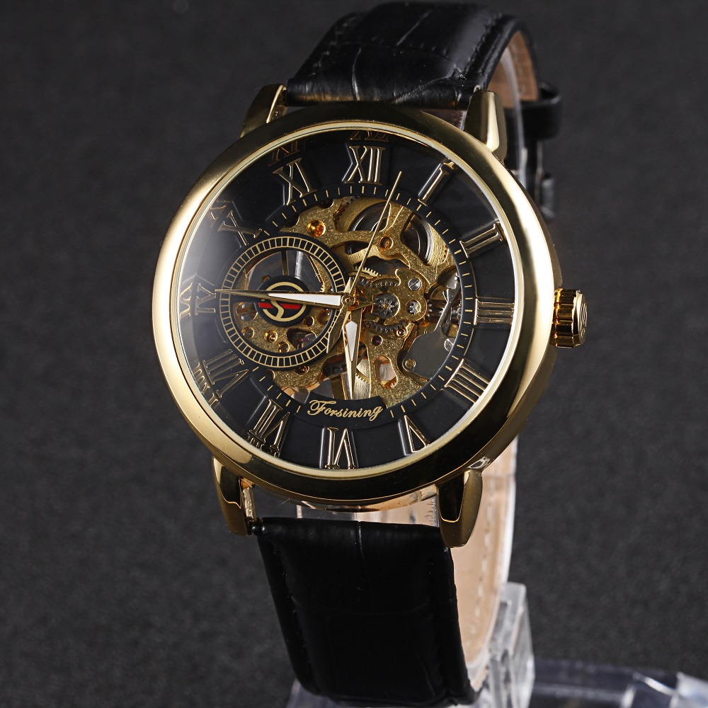 Forsining Men s Mechanical Watch Male Skeleton Dial Leather Strap Watch Roman Numerals Display Luxury Brand