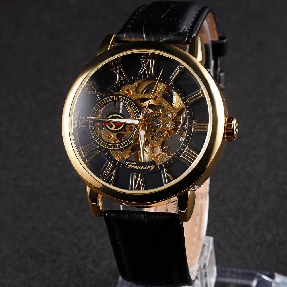 1c89b3f268f Forsining Relógio Masculino Mostrador Esqueleto Mecânico dos homens Relógio  Marca de Luxo Relógio Relógio Pulseira de Couro Algarismos Romanos Exibir  em ...
