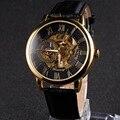 Forsining relógio masculino mostrador esqueleto mecânico dos homens relógio marca de luxo relógio relógio pulseira de couro algarismos romanos exibir
