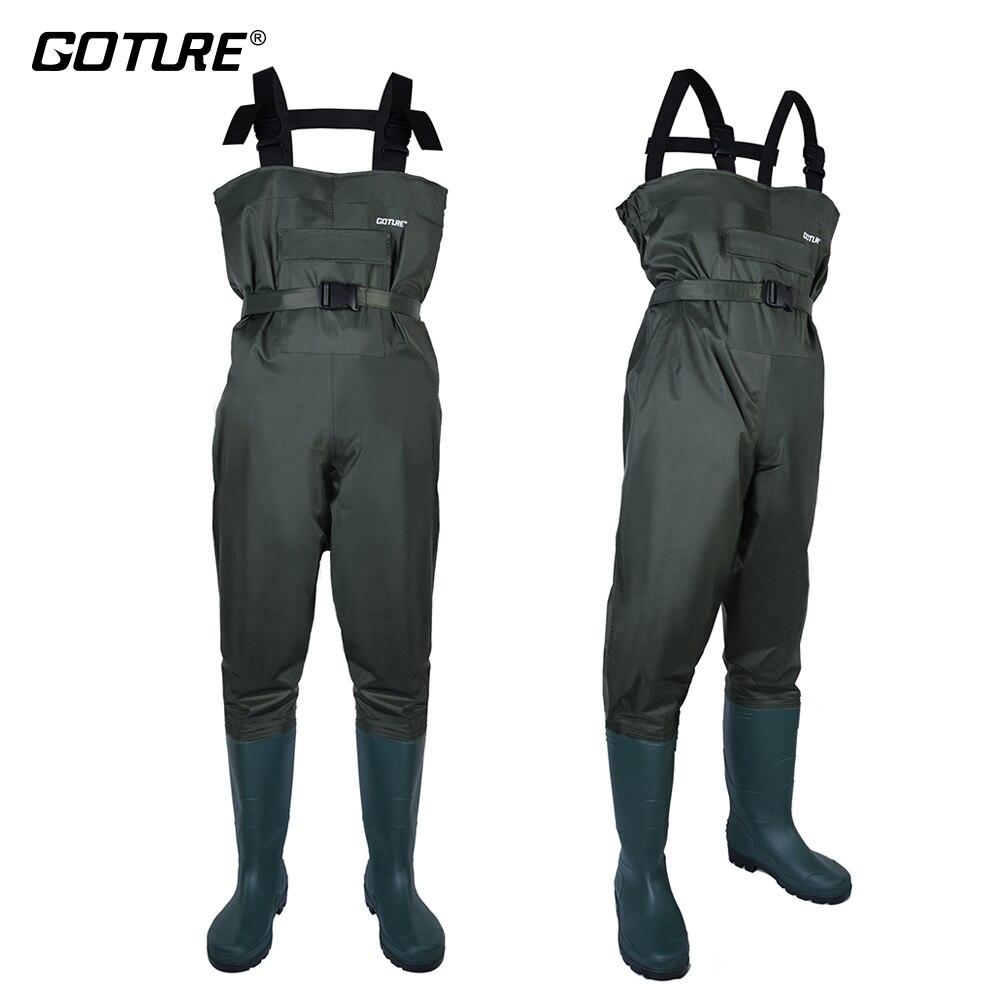 Goture nouveauté imperméable à l'eau pêche Waders mouche pêche respirant Wader avec chaussures taille européenne #43 #44 #45 #46 hommes vêtements