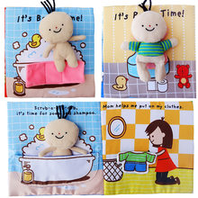 New 3D Baby Cloth Book of Bath Potty Baby Educational Unfolding Activity Book Infant Early Cognitive Development Quiet Books(China)
