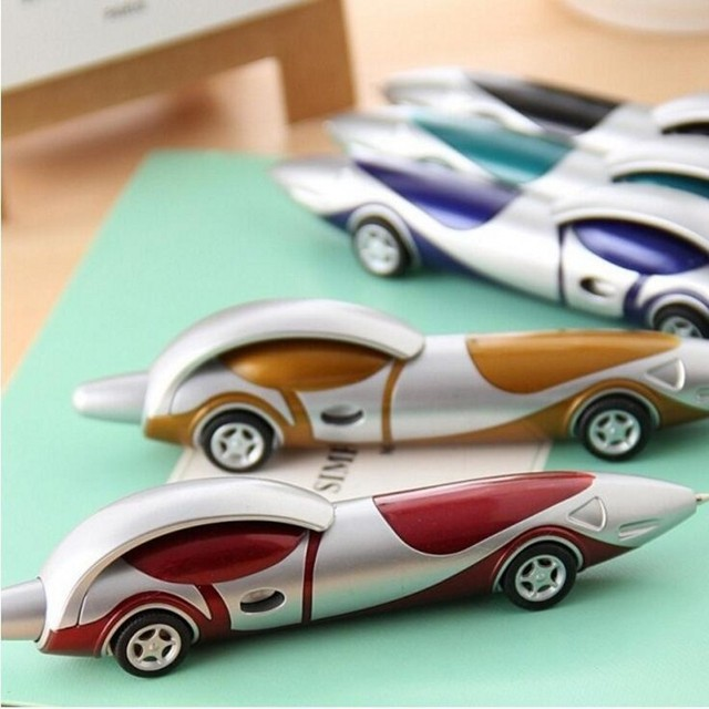 24Pcs/Lot Creative Cartoon Plastic Car Ballpoint Pen Novelty Personality Ball Pens Items Korean Stationery Supplies 7011