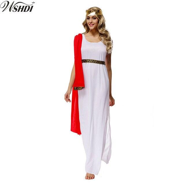 e9ff95371 Adulto diosa griega Cosplay disfraces diosa Helena Niñas Fancy party blanco  Musa vestido Athena disfraz de
