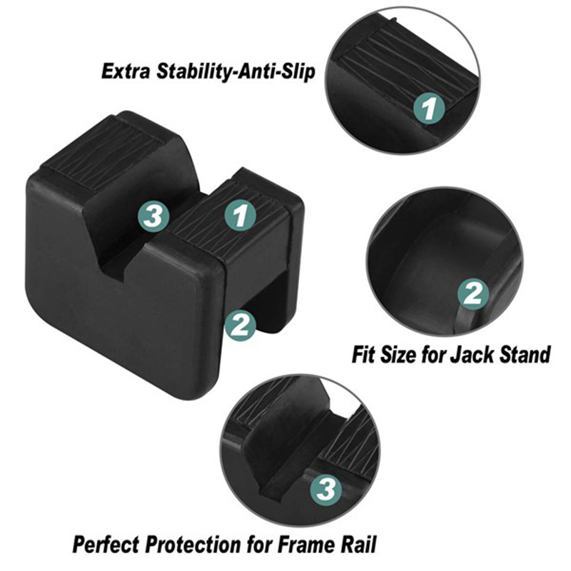 Jack Pad Adapter For Jack Stand 2-3 Ton Universal Rubber Slotted Frame Rail Pinch Welds Protector