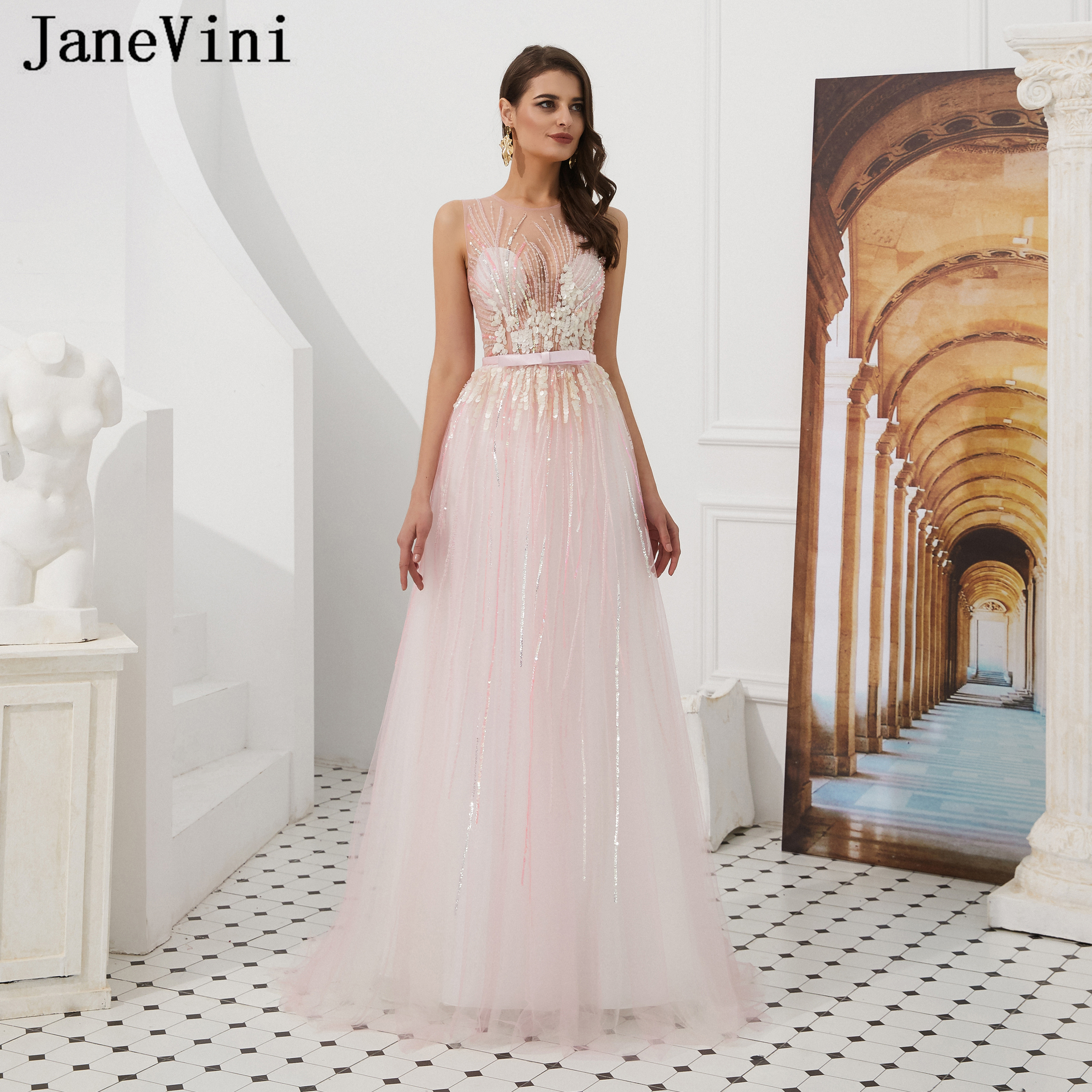 JaneVini Luxury Light Pink Heavy Beading Long   Prom     Dresses   for Women 2019 Sparkle Sequined Sheer Back A Line Formal Party Gowns