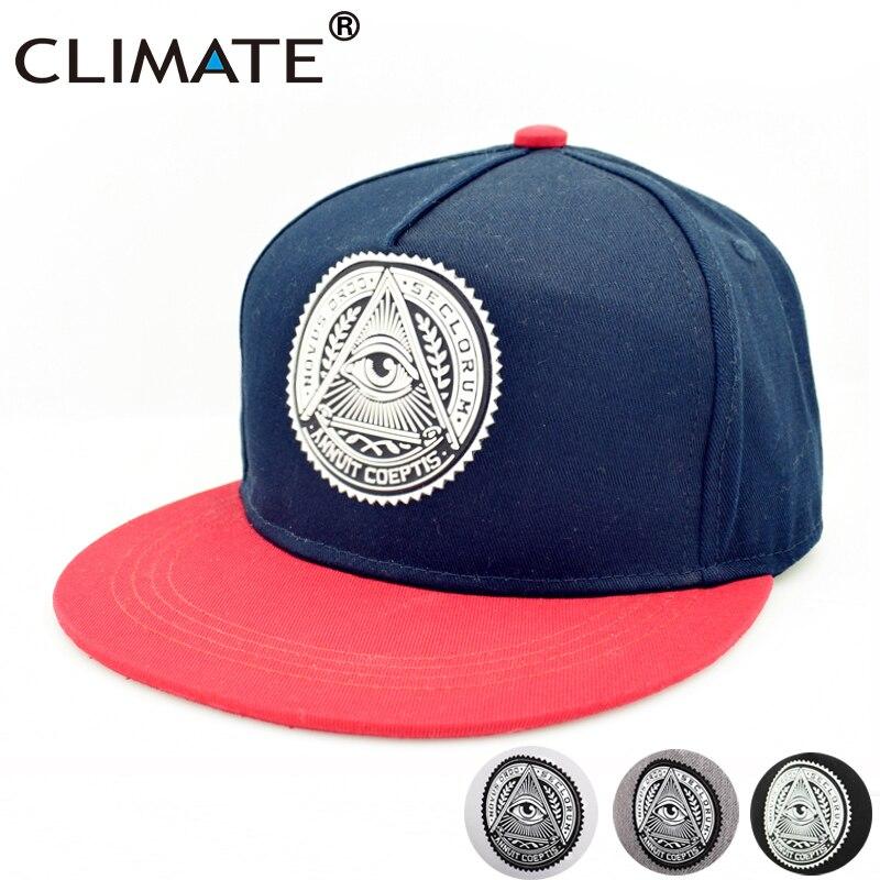 Prix pour CLIMAT Illuminati Eye ANNUIT COEPTIS Snapback Caps Novus Ordo Seclorum Livraison-Mason US Dollar Plat Pic HipHop Chapeau Homme femmes