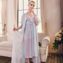 Lace Robe Elegant Gown Long Nightgown Sleepwear Royal Vintage Nightwear  Pregnant women Robe Bridal wedding( 8e9395150