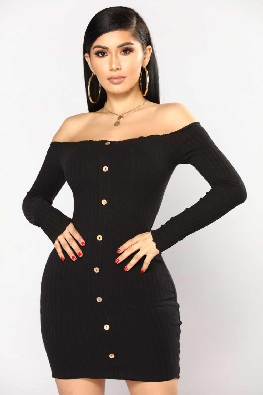 2019 осеннее сексуальное облегающее платье для женщин, одноцветное, с открытыми плечами, с длинным рукавом, сексуальное, с вырезом лодочкой, облегающее платье, мини платье для вечеринки vestidos