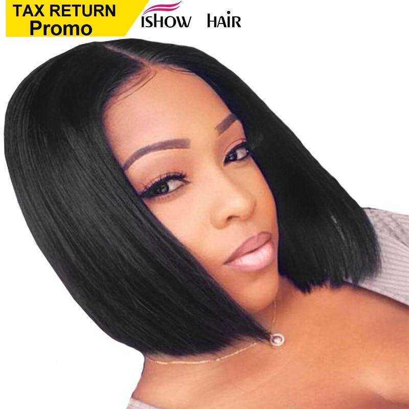 Ishow perruques courtes bob Pour Les Femmes Noires cheveux humains raides Perruques avec Pré Plumé Dégarni Brésilien Remy avant De lacet cheveux Humains perruques