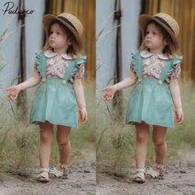 Suspender-Skirt Toddler Baby-Girl Outfits-Set Tops Ruffle Summer Princess-Dress