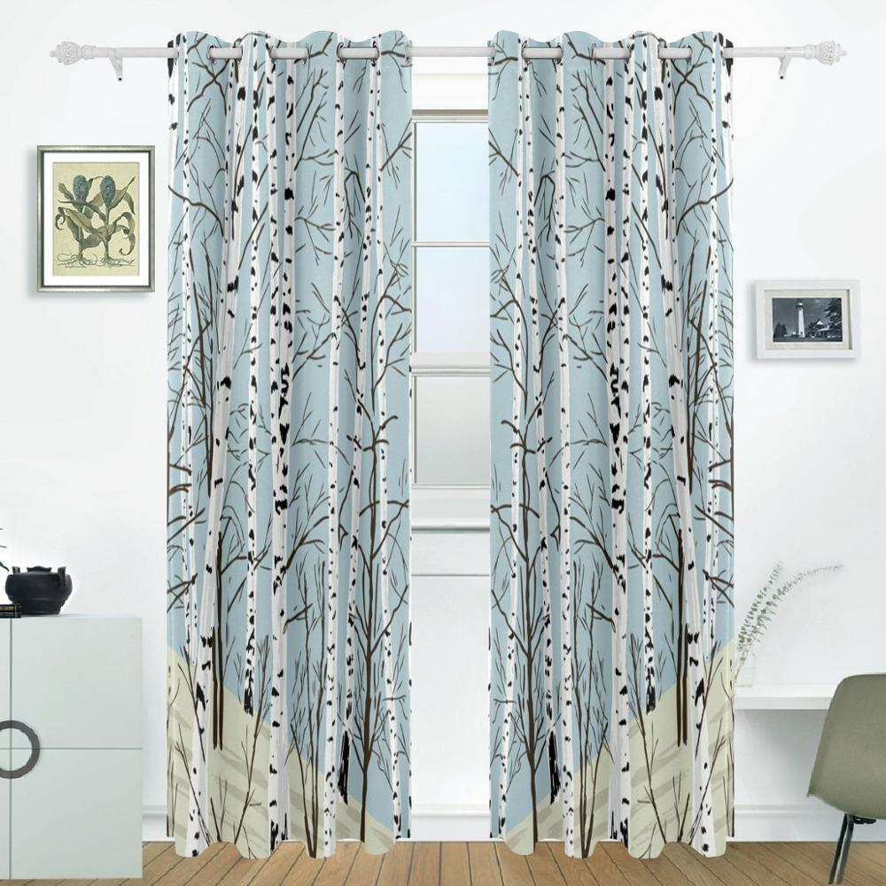 104 Inch Curtains Us 84 13 30 Off Birch Tree Curtains Drapes Panels Darkening Blackout Grommet Room Divider For Patio Window Sliding Glass Door 55x84 Inches In