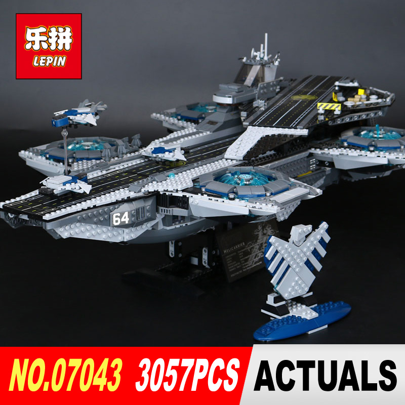 DHL Lepin 07043 3057Pcs Super Heroes The Shield Helicarrier Model Building Kits Blocks Bricks Toys Compatible 76042 3057pcs 07043 the shield helicarrier set captain america winter soldier building blocks bricks compatible with lego