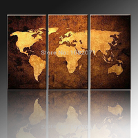 Skilled Painter 100 Hand Painted High Quality Abstract World Maps Oil Painting On Canvas Impression World