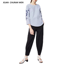 XUANCHURANWEN Womens Long Sleeve Pullover Shirt Blue Striped Embroidery Shirt Femme Loose Blouse Casual Tops YZ8297