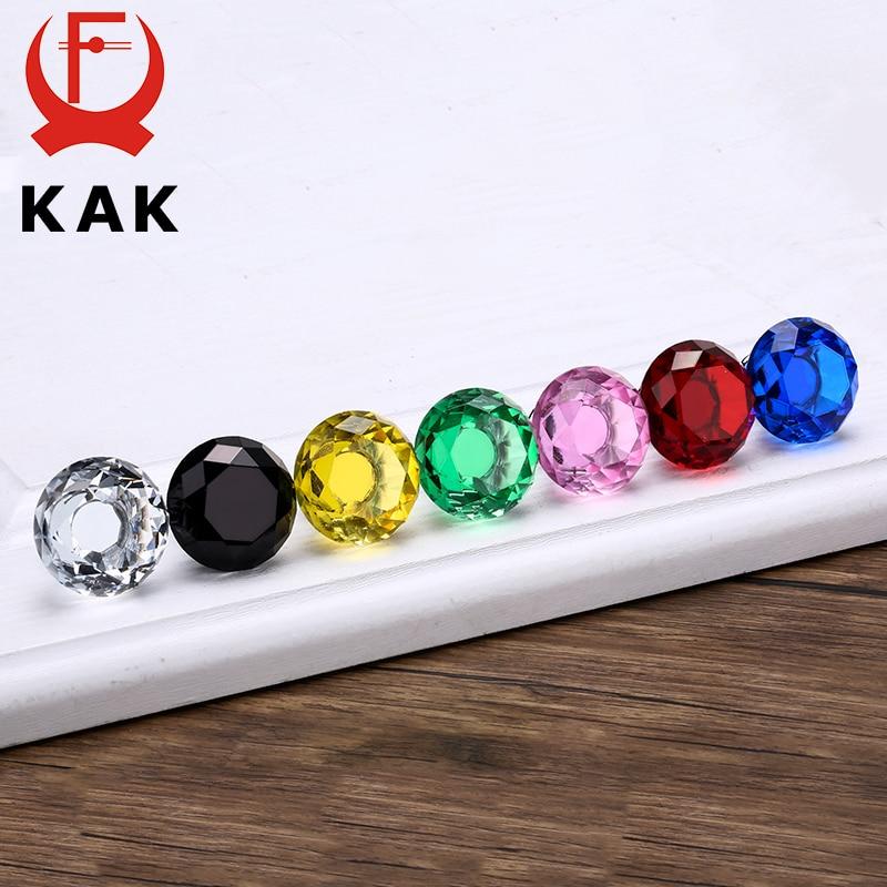 Купить с кэшбэком KAK 30mm Diamond Shape Design Crystal Glass Knobs Cupboard Pulls Drawer Knobs Kitchen Cabinet Handles Furniture Handle Hardware