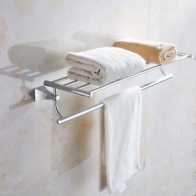 60cm Solid Br Bathroom Wall Mounted Bathrobes Bath Towel Racks Bars Polished Chrome