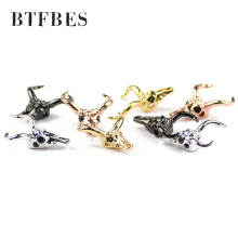 BTFBES 4pcs Copper Product Cows skull Spacer beads Black Zircon Eye Charms Loose beadsfor Jewelry bracelets making DIY Necklace