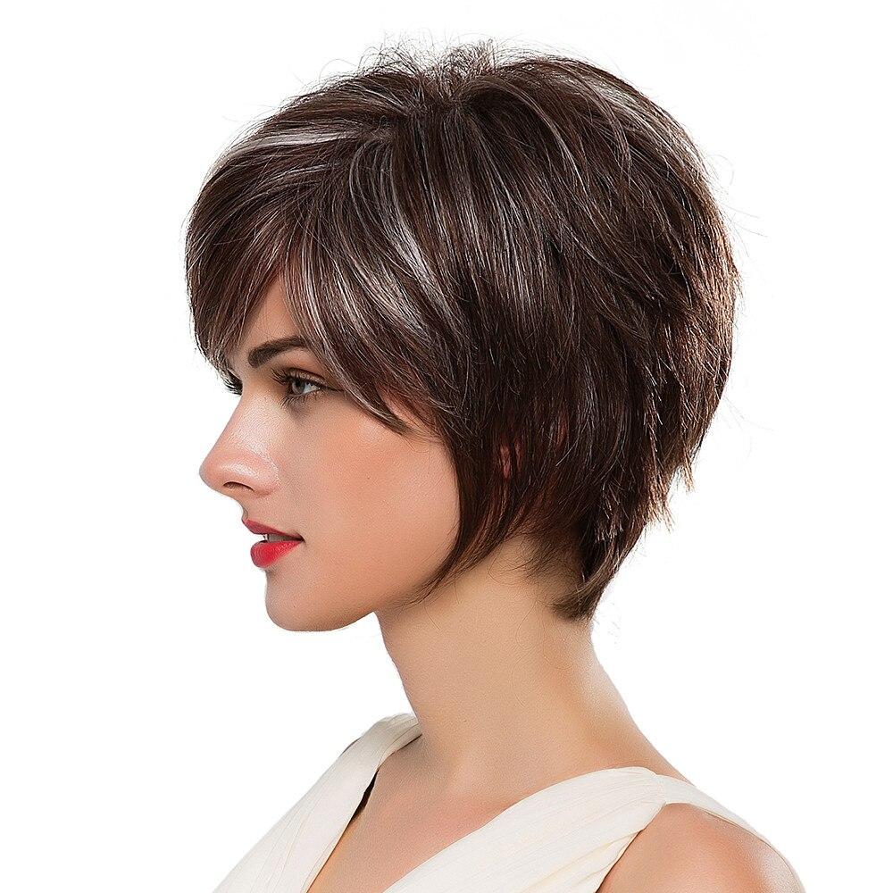 Блондинка Единорог 8 дюймов короткие волосы парик пушистые Многослойные прямые волосы с бахромой сбоку темно-коричневый выделяет смесь пар...