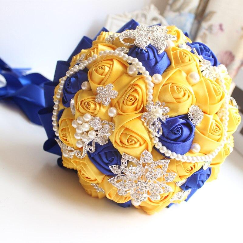 JaneVini Fleur Satin Gul och Royal Blue Wedding Brosch Bouquet Bride - Bröllopstillbehör - Foto 2