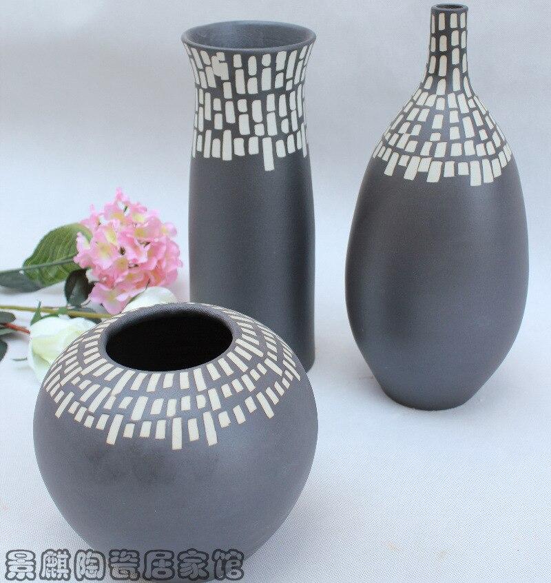tres piezas de jarrones muebles para el hogar de la joyera moderna de tres piezas de cermica florero esmalte blanco y negro me