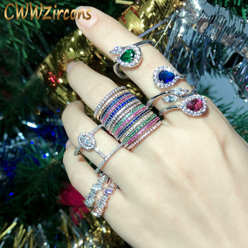 CWWZircons-Conjunto de anillos de circonia cúbica para mujer, set de joyería de...