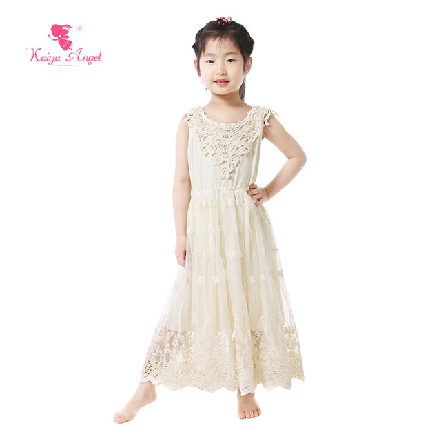 fe9f4a3b964 Kaiya Angel Girls Clothes Flower Girl Dresses Cream Lace Kids Dresses For  Girls Lace Kids Clothes Wholesale 1-8T Elegant Dress
