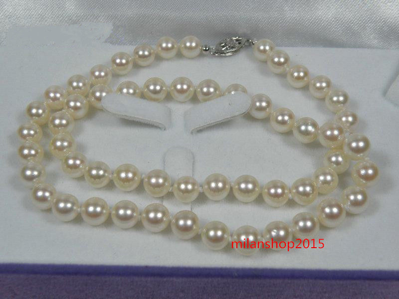 GORGEOUS south sea WHITE 7.5-8mm AAA+ ROUND PEARL 18