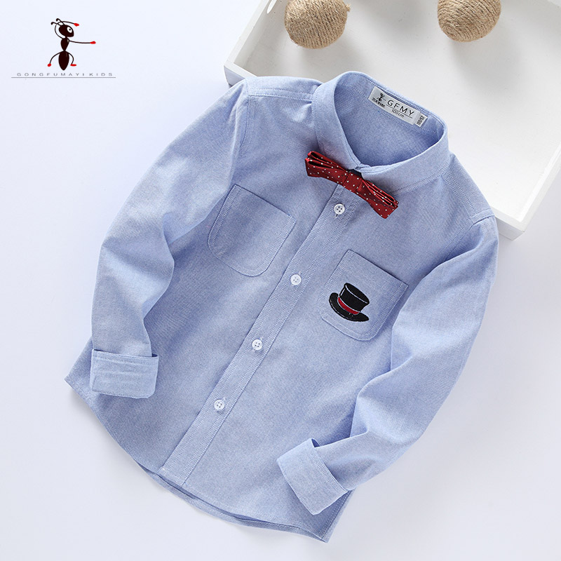 Kung Fu Ant 2018 New Arrival Turn-down Collar Long Sleeve Casual Oxford Textile boys shirt Kids Blouses Students Clothes 3004 modish turn down collar plaid print tiny skulls pattern long sleeve shirt for men