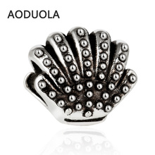 цена на 10Pcs a Lot Silver Plated bead Cute Ocean Shell Beads Alloy DIY Big Hole Metal Spacer Bead Charm Fit For Pandora Charms Bracelet