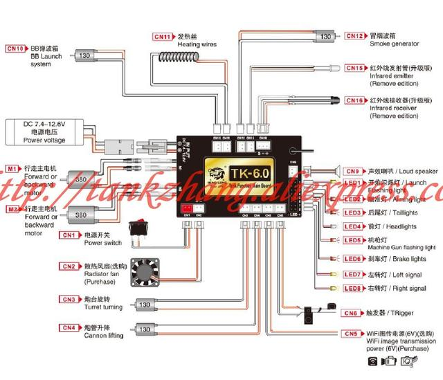 HENGLONG 1:16 RC tank spare parts No. 2.4G receiver / 2.4G main board-6.0 version