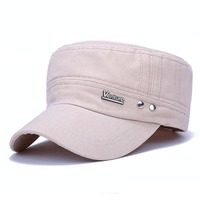 New Men Flat Hat Seasons Fashion Letter V Matel Lable Cotton Hat Cap Military Peaked Cap