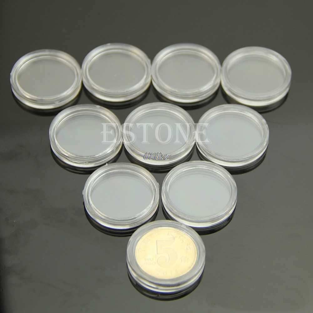 10 PCS Applied Clear Round Cases Coin Storage Capsules Holder Round Plastic 21mm N24 Drop Ship