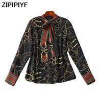 ZIPIPIYF 2018 Autumn 2 Colors New Women Silk Shirt Tops Elegant Ladies Formal Office Print Blouse Work Wear Blusas Femininas