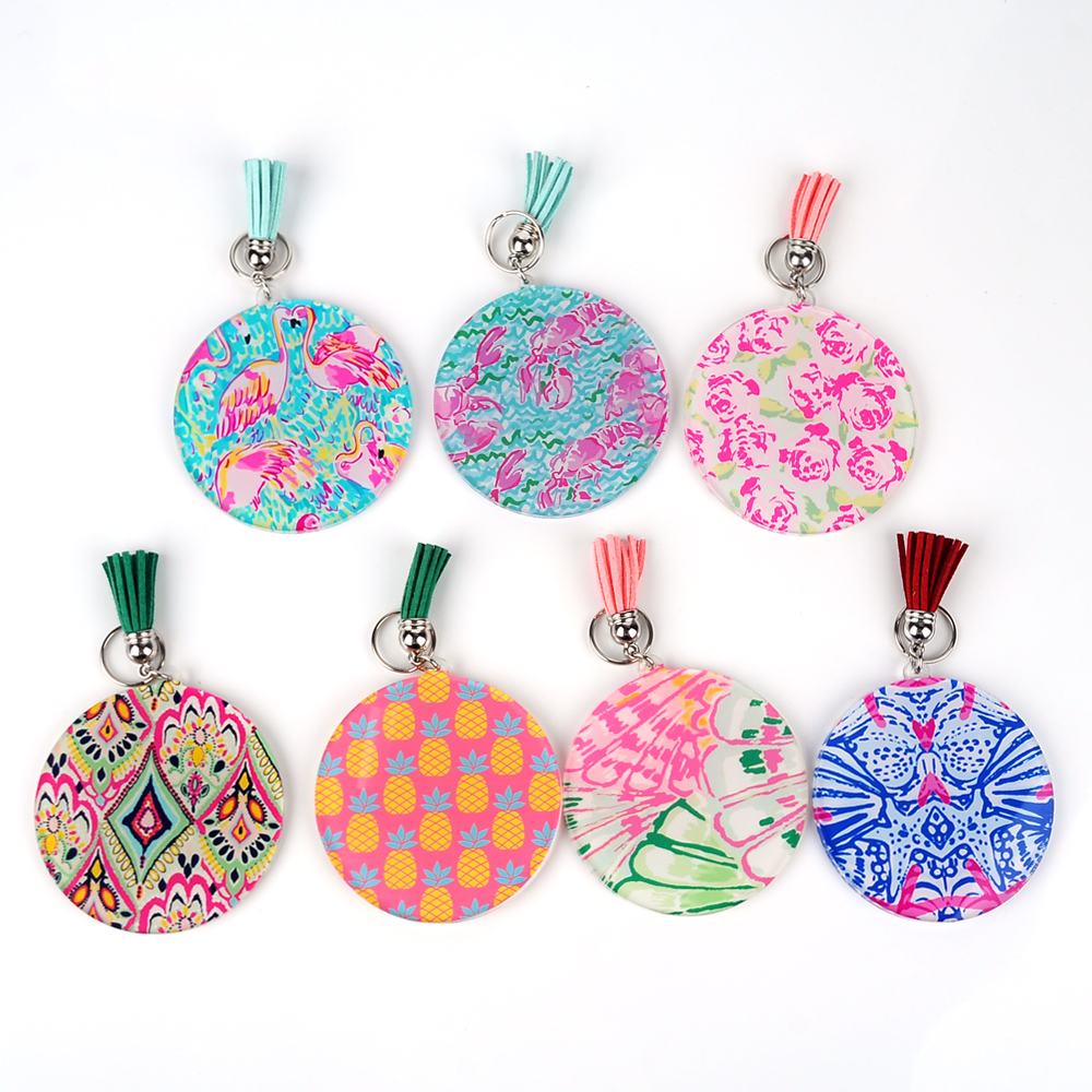 Acrylic Lilly Key Fob Round Acrylic Tassel Keychain With Metal Bag Hook Bag Charm With Tassel In Front DOM103620 недорго, оригинальная цена